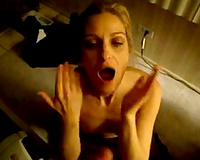 Wasted Married slut engulfing my schlong on the floor and swallows some sex cream