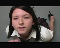Amateur dark brown legal age teenager milks my jock dry on her face