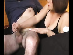 My colleague receives a valuable oral-stimulation on the couch by his fresh chick