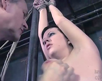 Brunette tramp receives her cum-hole toyed and screwed in BDSM video