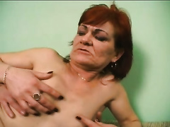 Depraved aged redhead sucks a rod after getting screwed hard