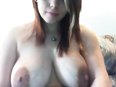 Divine breasty web camera white wife shows me her large pink areolas