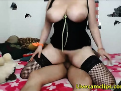 My breasty Asian girlfriend gives me a titty fuck