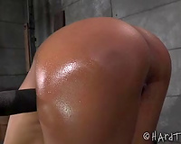 Sexy ebon girl with petite pantoons is bound hard and toyed well
