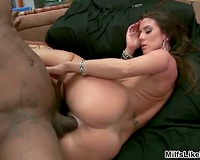 Brunette milf receives drilled hard by a large dark dong