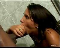 Sucking large dark ramrod in the hawt tub