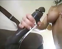 Dude has a monster dark cock for her a-hole