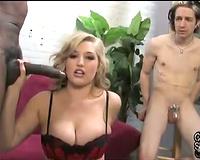 Big titty blond chick cuckolds him