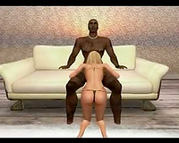 Hot hardcore interracial scene in 3d