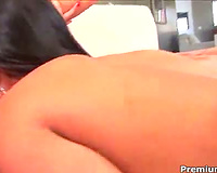 Interracial lesbo three-some with muff licking