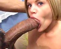 Huge dark dong fucking her throat