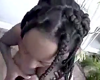 Black babe blow and tit fuck white rod
