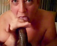 Horny mother I'd like to fuck is zealous having a black 10-Pounder stuffed unfathomable in her face hole