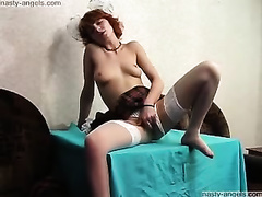 Enticing redhead college amateur wife strips and masturbates