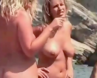 Just a fine flock of hawt golden-haired white milfs on the nudist beach