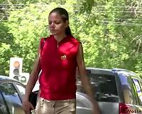 Public pissing solo clip with amateur dark brown Olga