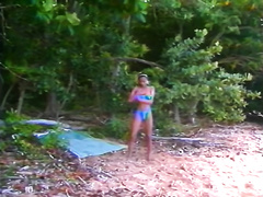 Fuck dieing ebon hoe rubs her thirsting kitty in forest