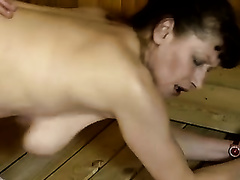 Sexy brunette hair bitch with well stacked body nailed in the sauna