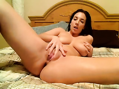 Wife of mine got bored and fingered her fanny in bedroom