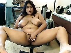 Horny Indian fattie with large pantoons masturbates on camera