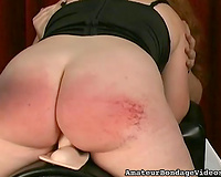 Chubby redhead bitch rides a sybian and receives her booty spanked