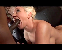 Juggy golden-haired milf enjoys interracial banging on a daybed