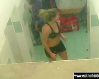 Gorgeous in nature's garb amateurs spied in locker room
