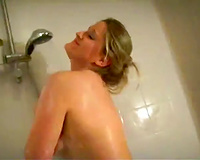 Thick and curvy German GF takes shower before engulfing my biggest dick