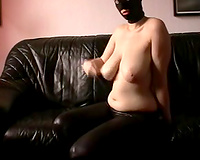 Breasty and thick gal in mask showing off her big bumpers