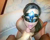 Masked floozy sucks my ramrod until that sweetheart gets what that hottie so desperately desires