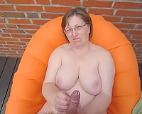 Fat white European cougar jacking off my dick on POV clip