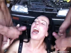 Rubbish darksome brown bitch receives drilled in hardcore double penetration porn episode