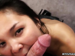 Pretty Asian horny white wife manages to milk a shlong dry in sexy POV movie scene