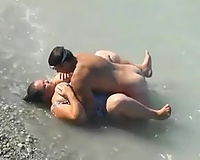 Horny hubby pounds his big beautiful woman white black cock sluts in the sea