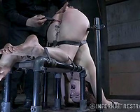 Poor hotwife with slender body with clips on her bawdy cleft is spanked