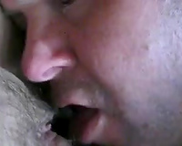 Hungry white hubby eats my bushy coochie on POV home tape