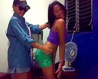 Lovely tanned skin exotic teens on cam flirting