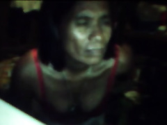 Ugly slim Filipina mama shows her flaccid meatballs for the webcam