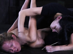 Kinky golden-haired gets punished truly hard in the dungeon