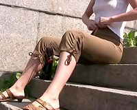 Blonde white wife in Russian Federation receives moist in the public place
