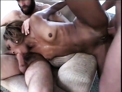 Hot dark girl with priceless butt nailed hard in gang group-sex