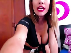 Webcam blond in cop uniform teases with her cleavage and gazoo