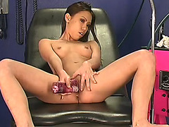 Slim and perverted Asian bitch acquires her wet crack reamed by her fake penis