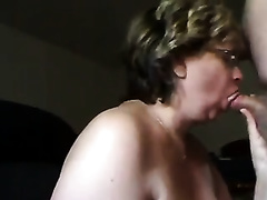 Short-haired aged cheating wife blows my knob and receives cum on mambos