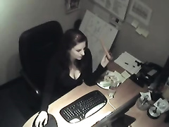 Hidden cam scene with my naughty secretary masturbating
