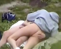 Spying on my buddy fucking his slender college white wife outdoors