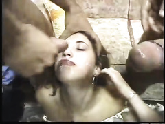 Nasty Brazilian wench handles double penetration on a pro level