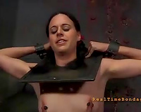 Poor bounded hotwife with cute pigtails is punished by her dom
