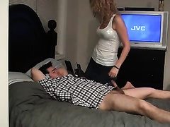 Blond milf pleases her hubby (AKA me) with a oral job and a cook jerking