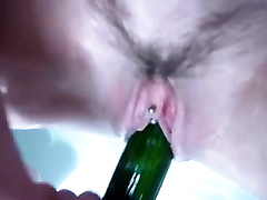 I washed the cucumber and pushed it inside my pierced twat